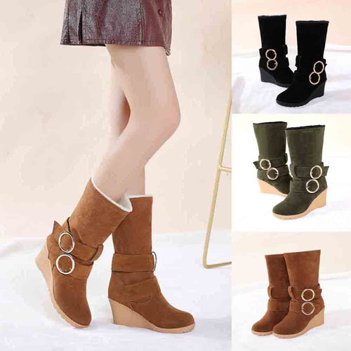 YOUYEDIAN 2019 Fashion Wedge Shoes Woman Platform Snow Winter Mid-calf-boots Women Buckle Strap Chunky Bota Mujer Increase Shoes