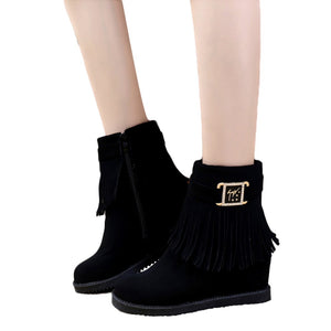YOUYEDIAN 2019 Female high heel Tassels Boots Belt Buckle Increase Within Plush Middle Boots chaussure femme talon bottine #G30