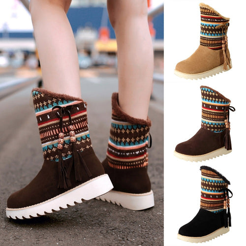 YOUYEDIAN 2019 New Shoes Woman Chunky Platform Autumn Winter Mid-calf-boots Women Slip-on Snow Botas Mujer Round Toe Shoes