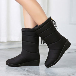 YOUYEDIAN 2019 New Shoes Woman Chunky Solid Winter Mid-calf-boots Women Warmer Snow Botas Mujer Round Toe Plus Velvet Shoes