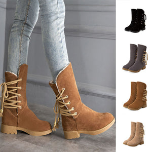 YOUYEDIAN 2019 New Shoes Woman Med-heels Lace-up Autumn Winter Mid-calf-boots Women Snow Platform Botas Mujer Round Toe Shoes