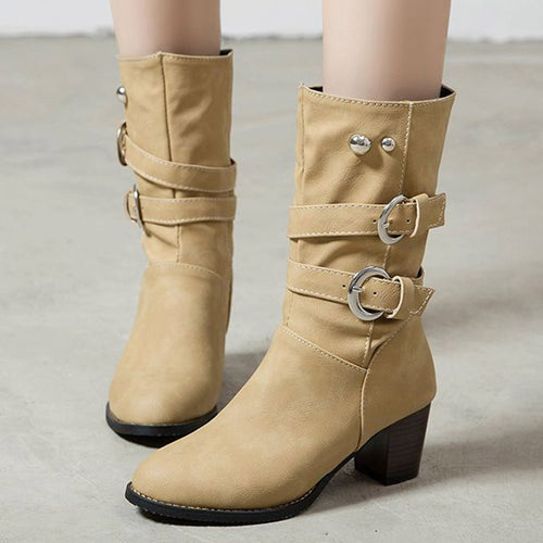 YOUYEDIAN 2019 Shoes Woman Square Heels Autumn Winter Mid-calf-boots Women Solid Platform Botas Mujer Zipper Belt Buckle Shoes