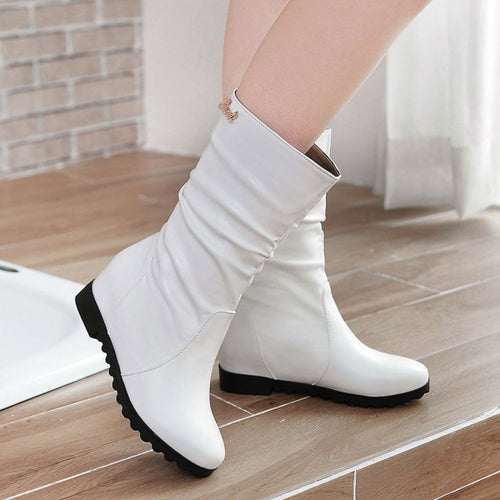 YOUYEDIAN 2019 Winter Autumn Women Mid-Calf-Boots Platform Women Shoes Pleated Solid Ladies Booties Metal Decoration Chunky Bota