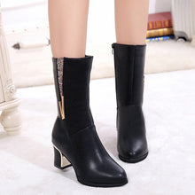 Load image into Gallery viewer, YOUYEDIAN 2019 Women's Ladies Square Heel Boots Crystal Winter Mid-Calf Martin Boots Shoes Black Color  Botines Mujer Plus Size