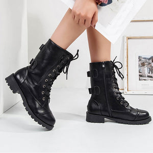 YOUYEDIAN Boots Women 2018 Autumn Lace Up Leather Boots Low Heel Fashion Casual Female Shoes Women Boots Botas Mujer