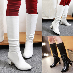 YOUYEDIAN Fashion Ladies Knee High Boots Women Square Heels Winter Shoes Women Pleated Warmer Snow Pointed Toe Botines Mujer
