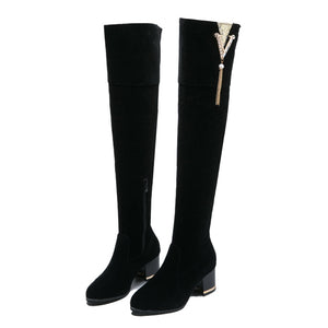 YOUYEDIAN Fashion Women Boots Retro Winter Autumn Shoes Woman Zipper Over-the-knee-boots For Women Increase Wedge Bota Feminina