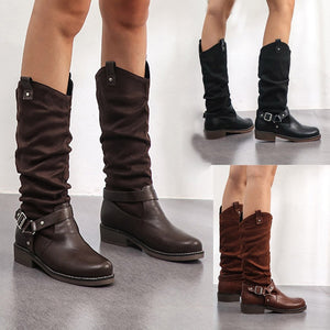 YOUYEDIAN Fashion Women Boots Zipper Winter Autumn Shoes Woman Buckle Strap Mid-calf-boots For Women Pleated Pointed Toe Bota