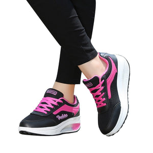 YOUYEDIAN Fashion Women Mesh Heightening Feminino Casual Shoes Soft Bottom Rocking Shoes Sneakers scarpe donna estive nere#G30