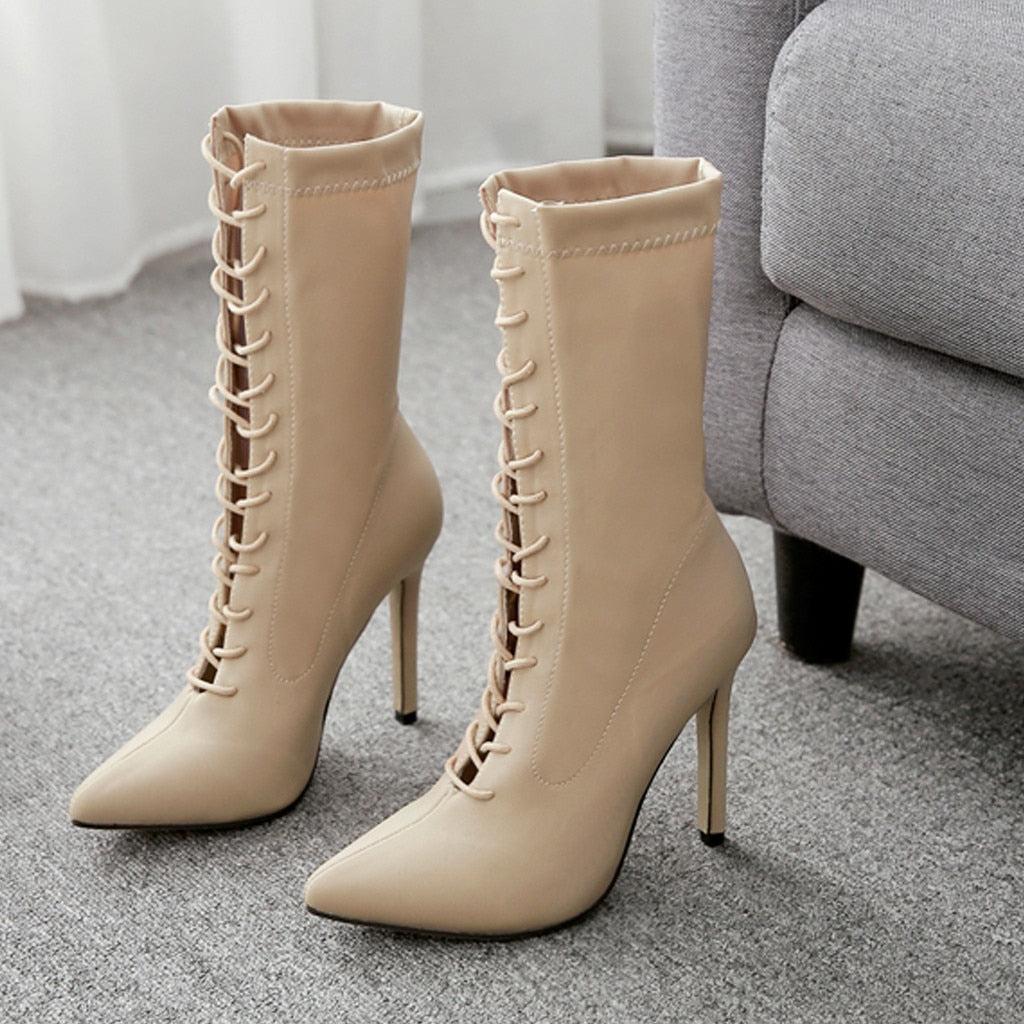 YOUYEDIAN High-heel Women's Boots Sewing Lace-Up Boots Women Thin Heels Pointed Toe Women Boots Autumn In Mid-Calf Boots botas
