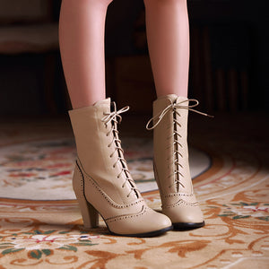 YOUYEDIAN Ladies Winter Hight Heel Boot Women PU Leather Lace-Up High-Heeled Boots Middle Tube Martin Boots botines mujer 2019