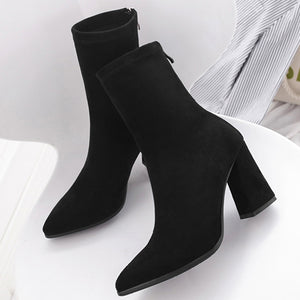 YOUYEDIAN New Fashion winter boots women Zipper Soild  Pointed Toe Square Heel Shoes Party Boots botas mujer invierno 2019#A3
