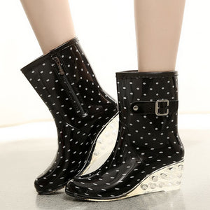 YOUYEDIAN Punk Style water shoes woman casual buckle strap Mid Snow Boots Women's Non-Slip Rain Boots Outdoor Wedge Water Shoes