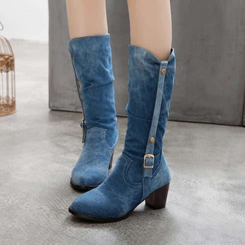 YOUYEDIAN Shoes Woman Square Heels Autumn Winter Mid-calf-boots Women Pleated Cowboy Botas Mujer Pointed Toe Blet Buckle Shoes