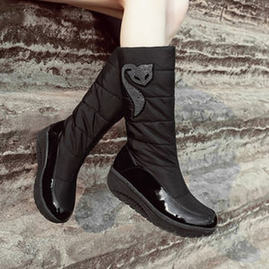 YOUYEDIAN Winter Boots Women 2019 Leather Black Mid Calf Boots Crystal Ladies Shoes Wedges Middle Boots Bota Feminina