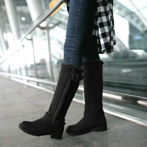 YOUYEDIAN Women Boots 2018 Knee High Snow Boots Slip On Buckle Solid Women Winter Shoes Casual Boots Botas Mujer