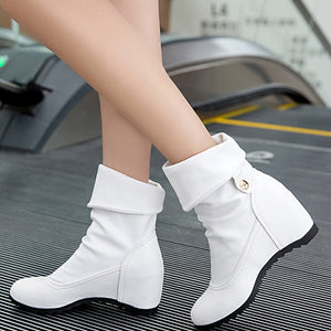 YOUYEDIAN Women Boots 2018 Leather Boots Wedges Turn Over Edge Winter Female Casual Shoes Super High Heel Boots Botines Mujer