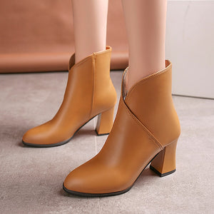 YOUYEDIAN Women Boots 2018 Leather High Heel Boots Pointed Toe Women Winter Shoes Casual Slip On Martin Boots Botas Mujer