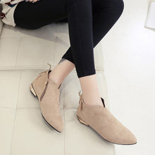 Load image into Gallery viewer, YOUYEDIAN Women Boots 2018 Pointed Toe Ankle Boots For Women Zipper Winter Shoes Fashion Low Heel Boots Botas Mujer