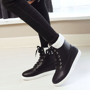 YOUYEDIAN Women Boots 2019 Flat Black Boots Women Lace Up Female Casual Shoes Leather Winter Boots Women  Bottes Femme