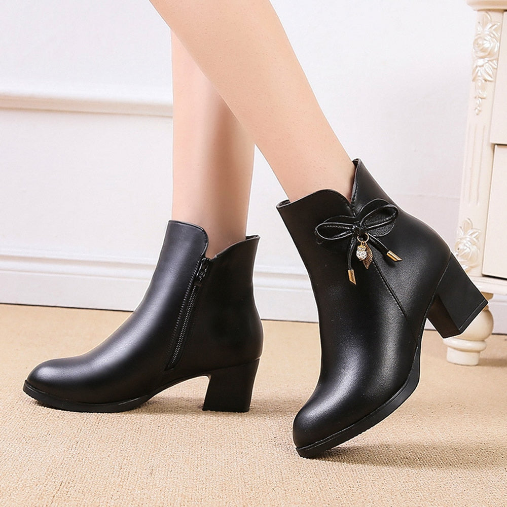 YOUYEDIAN Women Boots Black Leather Ankle Boots For Women Bow High Heel Boots Autumn Female Shoes Size 36-41 Botas Mujer