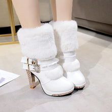 Load image into Gallery viewer, YOUYEDIAN Women Boots CryStal White Leather Boots Mid Calf High Heel Fashion Winter Female Shoes Size 35-40 Botas Mujer