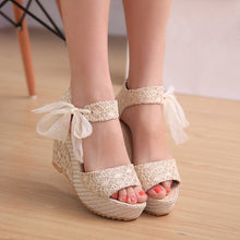 Load image into Gallery viewer, YOUYEDIAN Women Sandals 2018 Wedges Bow Lace Up Super High Heel Ladies Sandals Summer Women Shoes Sandalias Mujer