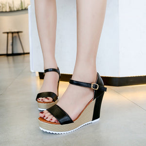 YOUYEDIAN Women Sandals Summer Fashion Buckle Wedge Sandals Women Casual High Heel Platform Ladies Sandals Womens Shoes
