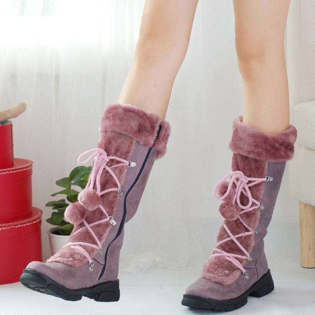 YOUYEDIAN Women Snow Boots 2018 Plush Mid Calf Boots Women Winter Shoes Casual Hairball Warm Platform Boots Botas Mujer