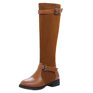 YOUYEDIAN Women Warm Boots Square Heels Boots Buckle Strap Casual Long sock boots ladies stylish mid calf Booties#g35