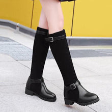 Load image into Gallery viewer, YOUYEDIAN Women Warm Boots Square Heels Boots Buckle Strap Casual Long sock boots ladies stylish mid calf Booties#g35