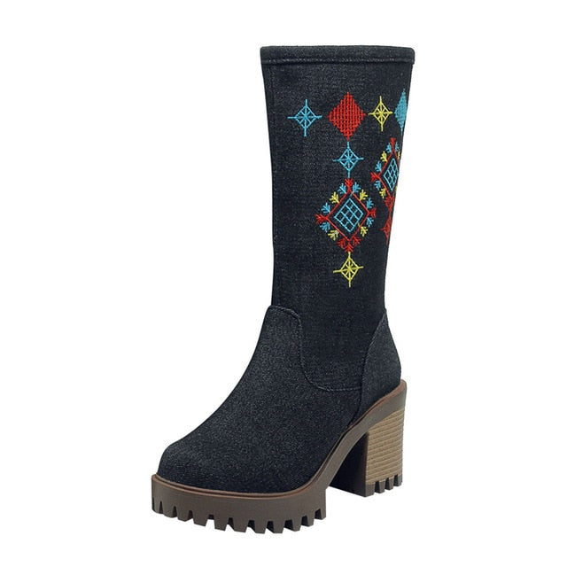 YOUYEDIAN  Women's Retro Embroidery Ladies High Heel Shoes Booties Boots Side Zip Boots botas mujer invierno 2018  #w40