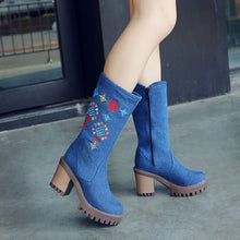 Load image into Gallery viewer, YOUYEDIAN  Women's Retro Embroidery Ladies High Heel Shoes Booties Boots Side Zip Boots botas mujer invierno 2018  #w40