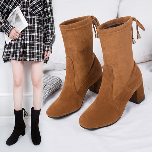 YOUYEDIAN Women's boots  Fashion Casual Solid Slip On Short Boots High Heel Shoes botas mujer invierno #3s
