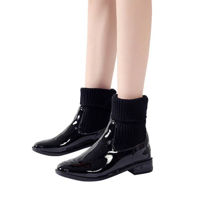 YOUYEDIAN boots for women woman wedges shoes womens wedges platform boots ladies solid black mid calf shoe 2019 botas mujer