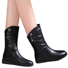 Load image into Gallery viewer, YOUYEDIAN boots for women woman wedges shoes womens wedges platform boots ladies solid black mid calf shoe 2019 botas mujer