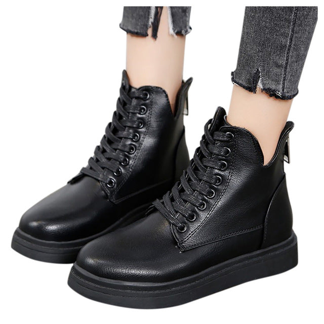 YOUYEDIAN gothic shoes boots leather military boots Women's Fashion Solid Lace-Up Knee-high Flat Heels Knight Boots Shoes#g4