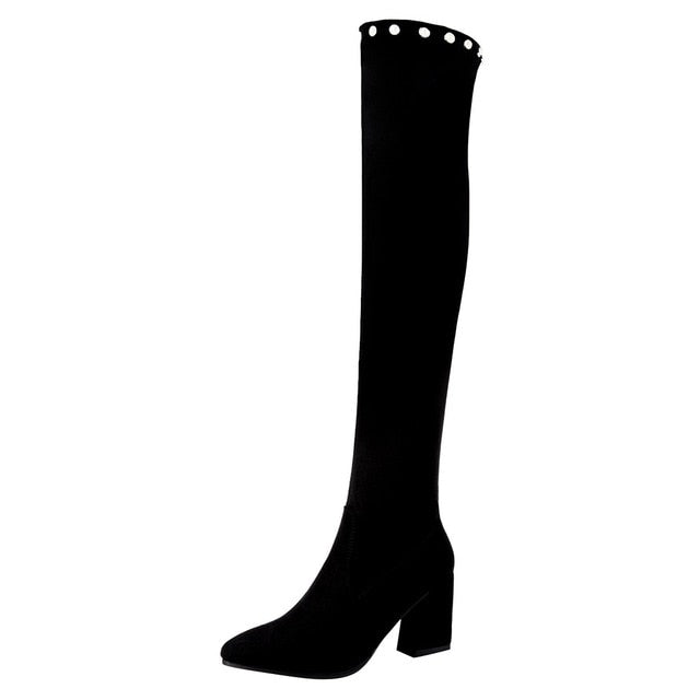 YOUYEDIAN knee high boots black sexy long boots Women's Over The Knee Boots Square Heel Elastic Casual Long Tube Booties#g3