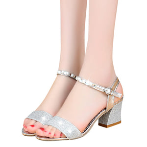 YOUYEDIAN low heel sandals for women Women Ladies Fashion Crystal Casual Square Heel Single Shoes Sandals buty damskie#g3