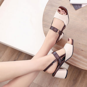 YOUYEDIAN mixed colors Women's Sandal square toe Wild High Heels With Buckle Sandals New arrival Thick Heel Peep Casual Shoes