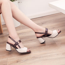 Load image into Gallery viewer, YOUYEDIAN mixed colors Women's Sandal square toe Wild High Heels With Buckle Sandals New arrival Thick Heel Peep Casual Shoes