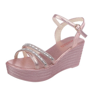 YOUYEDIAN wedges sandals for women luxury Summer Women Ladies Summer Crystal Wedges Beach Sandals Peep Toe Casual Shoes#G4