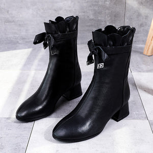 YOUYEDIAN winter boots women leather shoes Pure Color Round Toe Zipper Boots Chunky Heels Vintage Women Boots female#g4