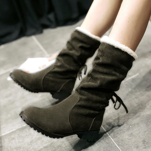 YOUYEDIAN women winter snow boots suede boots Pure Color Round Toe Lace-Up Boots Chunky Heels Vintage Women Boots#g4