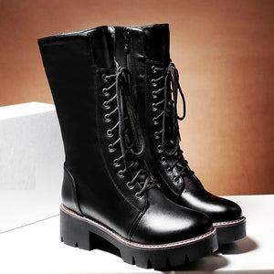 YOUYEDIAN womens boots large sizes Warm Boots Square Heels Shoes Lace-Up Casual Long platform boots women Booties#g40