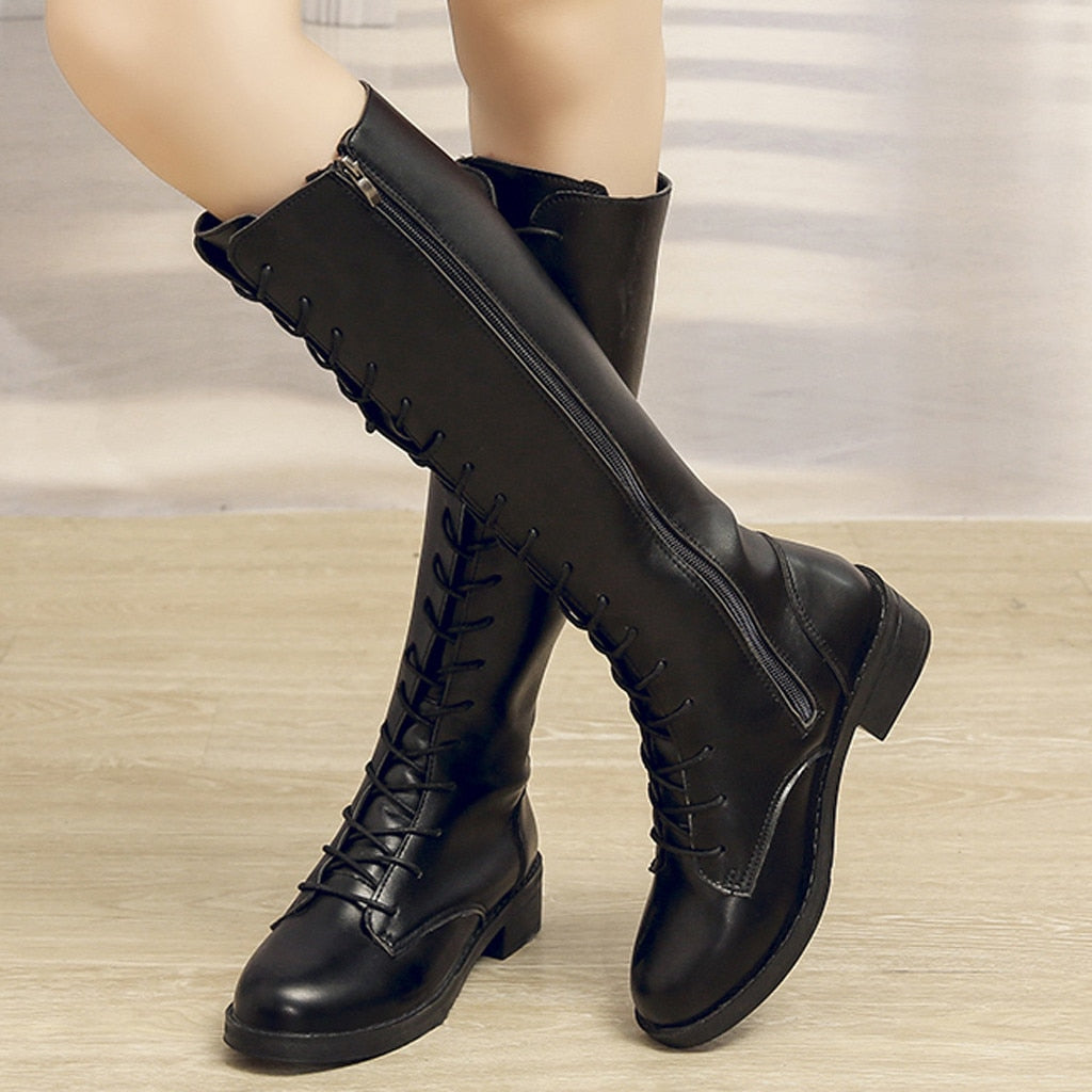 knee high boots women rubber flock Solid Lace-Up Large Size Knee-high Flat Heels Knight Boots Shoes botas mujer invierno#g3