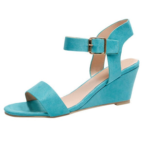 summer sandals women Ladies Fashion Solid Wedges Heel Buckle Strap Roman style high quality Shoes sandalias mujer