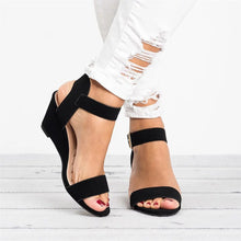 Load image into Gallery viewer, summer sandals women Ladies Fashion Solid Wedges Heel Buckle Strap Roman style high quality Shoes sandalias mujer