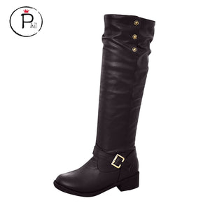 winter black boots knee high boots plus size Women Ladies Retro Low-heeled Shoes Buckle Add Cotton Long Tube Knight Boots #ZF