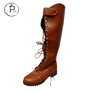 winter brown knee high boots women rubber flock  Western Platform Cowboy Lace-Up Round Toe Over The Knee High knight Boots #ZF